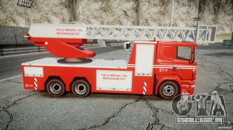 Scania Fire Ladder v1.1 Emerglights blue-red ELS para GTA 4 vista lateral