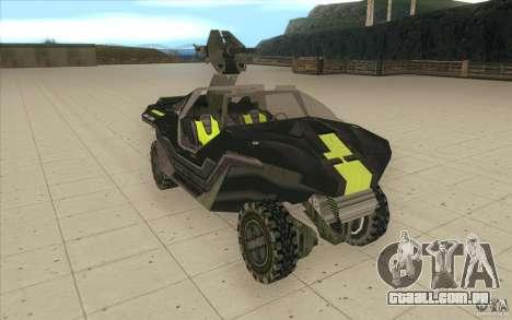 Halo Warthog para GTA San Andreas vista direita