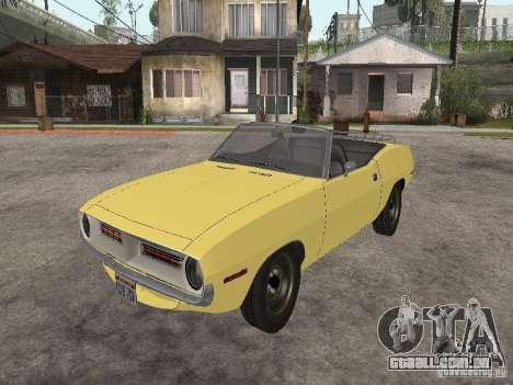 Plymouth Barracuda Rag Top 1970 para GTA San Andreas vista traseira