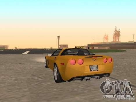Chevrolet Corvette Z06 para GTA San Andreas traseira esquerda vista