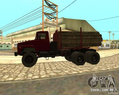 Transportador de madeira KrAZ-255 para GTA San Andreas traseira esquerda vista