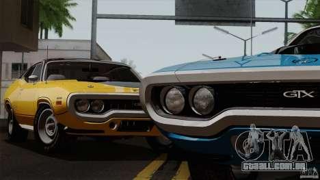 Plymouth GTX 426 HEMI 1971 para GTA San Andreas traseira esquerda vista