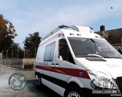 Mercedes Sprinter Turkish Ambulance para GTA 4 esquerda vista