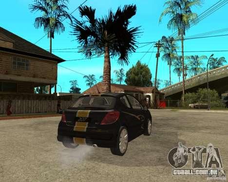 PEUGEOT 207 Griffe LANCARSPORT para GTA San Andreas traseira esquerda vista
