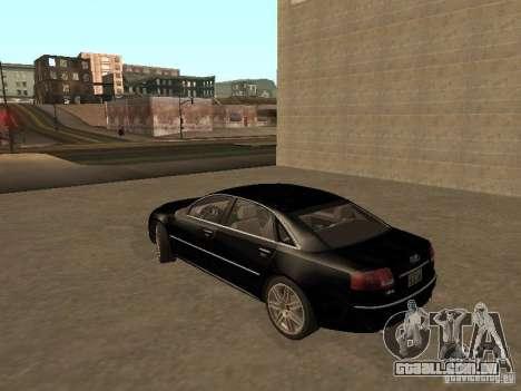 Audi A8 W12 S-Line para GTA San Andreas traseira esquerda vista