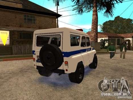 Polícia UAZ para GTA San Andreas vista direita