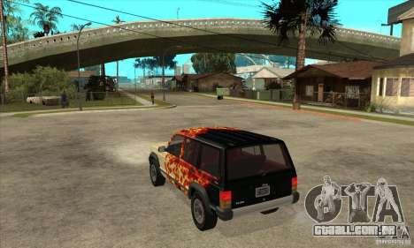 Jeep Cherokee 1984 para GTA San Andreas traseira esquerda vista