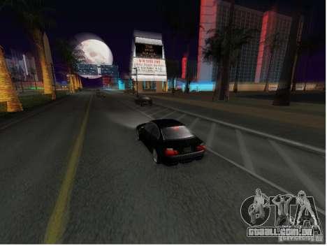 BMW M3 GT-R Stock para GTA San Andreas traseira esquerda vista