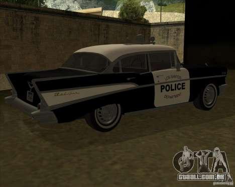 Chevrolet BelAir Police 1957 para GTA San Andreas traseira esquerda vista
