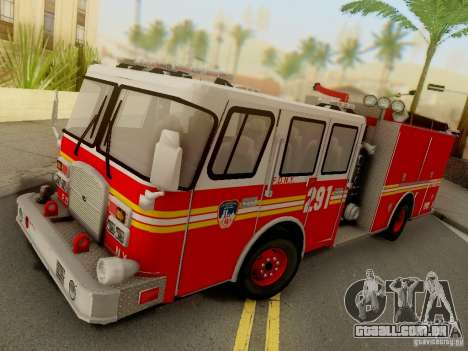 E-One FDNY Ladder 291 para GTA San Andreas traseira esquerda vista