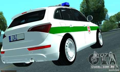 Audi Q5 TDi - Policija para GTA San Andreas vista direita