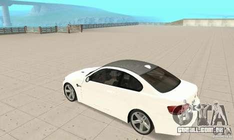 BMW M3 2008 para vista lateral GTA San Andreas