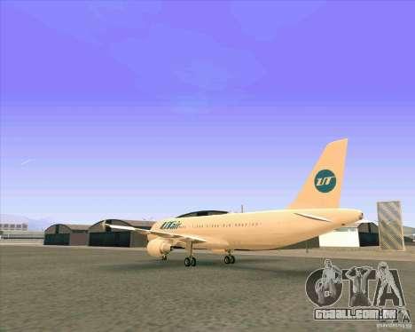 Avião Airbus A-320 UTair para GTA San Andreas vista direita