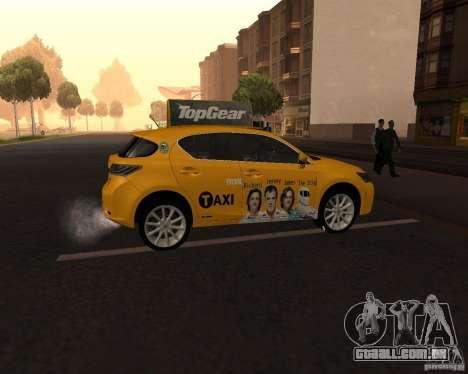 Lexus CT 200h 2011 Taxi para GTA San Andreas vista direita