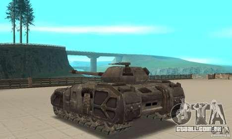 Rhino Tank-UT para GTA San Andreas traseira esquerda vista