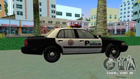 Ford Crown Victoria Police 2003 para GTA Vice City vista traseira esquerda