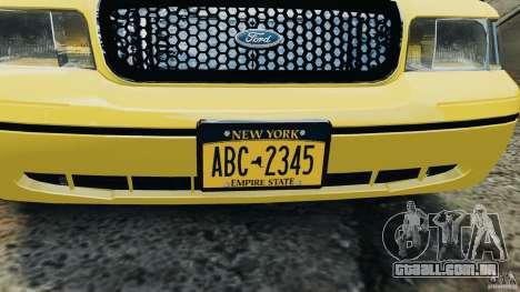 Ford Crown Victoria NYC Taxi 2004 para GTA 4 vista de volta