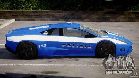 Lamborghini Reventon Polizia Italiana para GTA 4 traseira esquerda vista