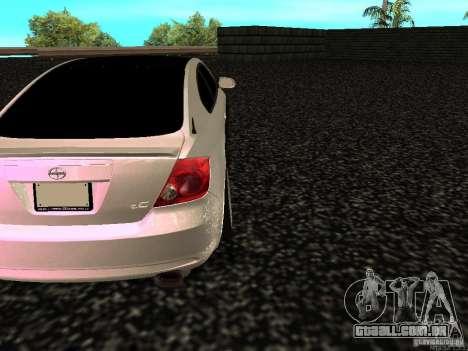 Toyota Scion para GTA San Andreas traseira esquerda vista