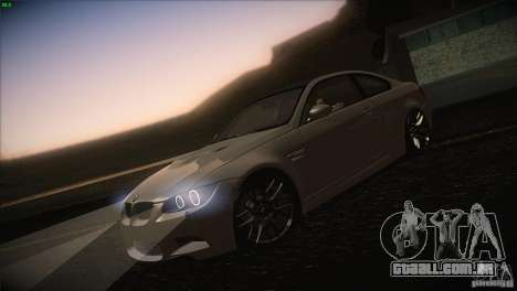 BMW M3 E92 para GTA San Andreas vista inferior