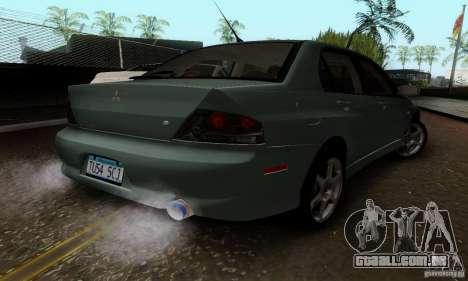Mitsubishi Lancer Evolution 8 Tuneable para GTA San Andreas traseira esquerda vista