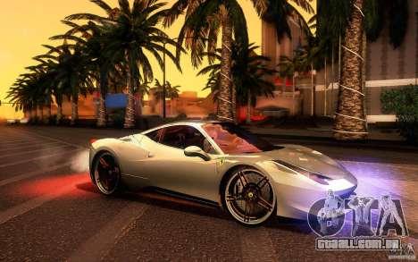 Ferrari 458 Italia Final para GTA San Andreas vista traseira