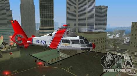 Eurocopter As-365N Dauphin II para GTA Vice City vista traseira esquerda