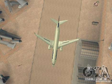 Boeing 737-800 Lufthansa para GTA San Andreas vista interior