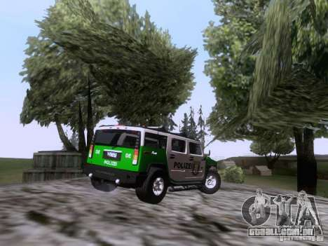Hummer H2 Polizei para GTA San Andreas vista direita