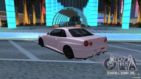 Nissan Skyline GTR-34 M-spec Nur para GTA San Andreas traseira esquerda vista