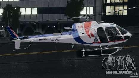 Eurocopter AS350 Ecureuil (Squirrel) Malaysia para GTA 4 traseira esquerda vista