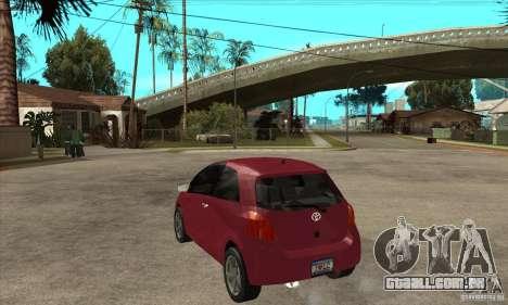 Toyota Yaris para GTA San Andreas traseira esquerda vista