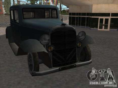 O veículo da segunda guerra mundial para GTA San Andreas vista traseira
