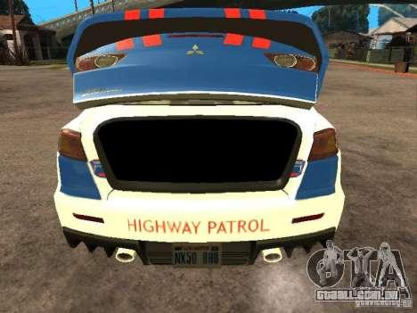 Mitsubishi Lancer X Police Indonesia para GTA San Andreas vista traseira