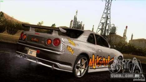 Nissan Skyline R34 Drift para GTA San Andreas vista interior