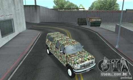 Ford F-350 1992 para GTA San Andreas vista interior