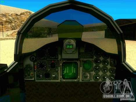 F-5E Tiger para GTA San Andreas vista interior