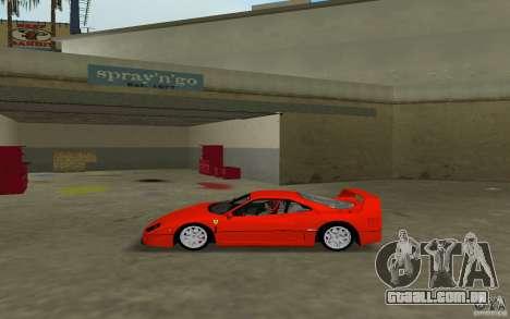 Ferrari F40 para GTA Vice City vista traseira esquerda