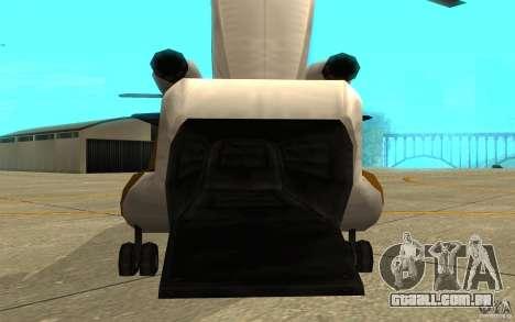 GTA SA Chinook Mod para GTA San Andreas vista traseira