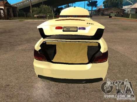 Bmw 135i coupe Police para GTA San Andreas vista traseira