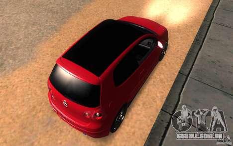VolksWagen Golf GTI MK5 para GTA San Andreas vista traseira