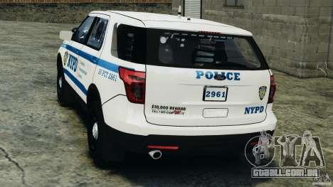 Ford Explorer NYPD ESU 2013 [ELS] para GTA 4 traseira esquerda vista
