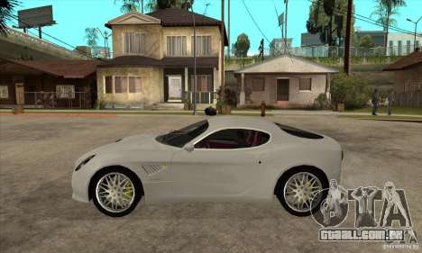 Alfa Romeo 8 c Competizione estoque para GTA San Andreas traseira esquerda vista