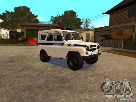 Polícia UAZ para GTA San Andreas traseira esquerda vista