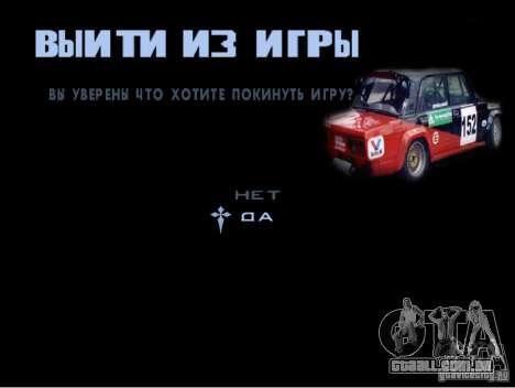 O novo menu do jogo para GTA San Andreas quinto tela