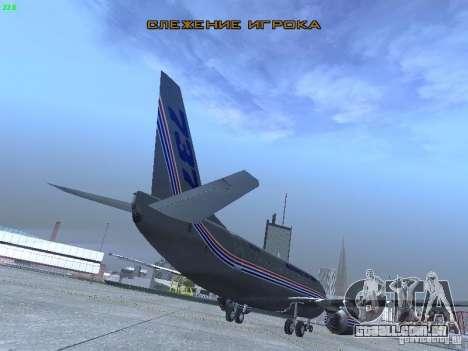 Boeing 737-500 para GTA San Andreas vista traseira