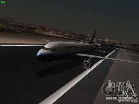 Airbus A319 United Airlines para GTA San Andreas esquerda vista