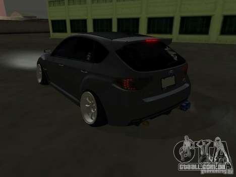 Subaru Impreza STI hellaflush para GTA San Andreas traseira esquerda vista