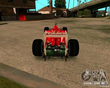 Ferrari Scuderia F2012 para GTA San Andreas traseira esquerda vista