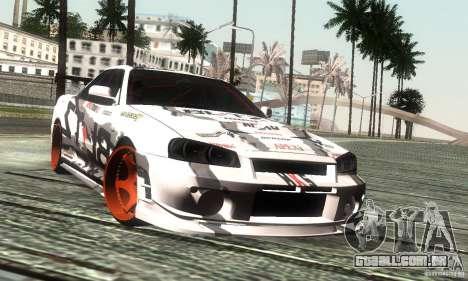 Nissan Skyline R34 Blitz para GTA San Andreas traseira esquerda vista